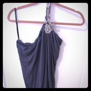 One shoulder jeweled sleeveless top